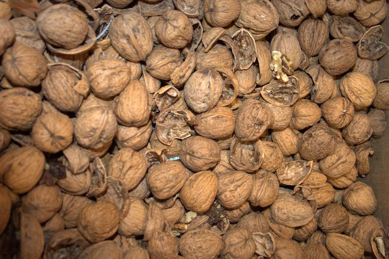 Close-up of heap of walnuts