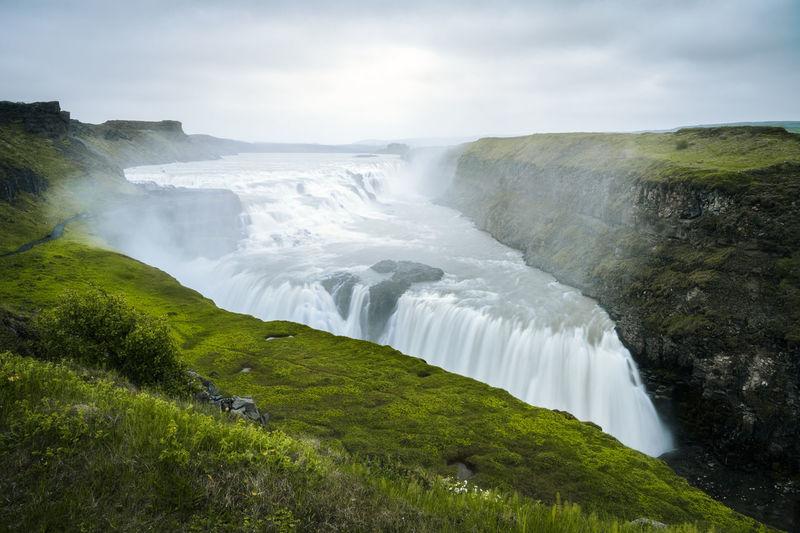 View of moody, powerful gulfoss waterfall, golden circle, iceland
