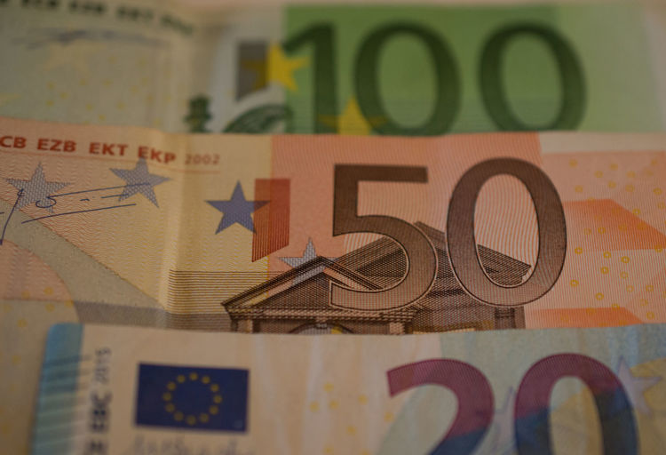 100 Euro 20 Euro 50 Euro Currency Economics Economy Euro Bank Notes Business Close-up Currency Euro Bills Euros Finance Invest Investment Money Paper Currency Savings Wealth