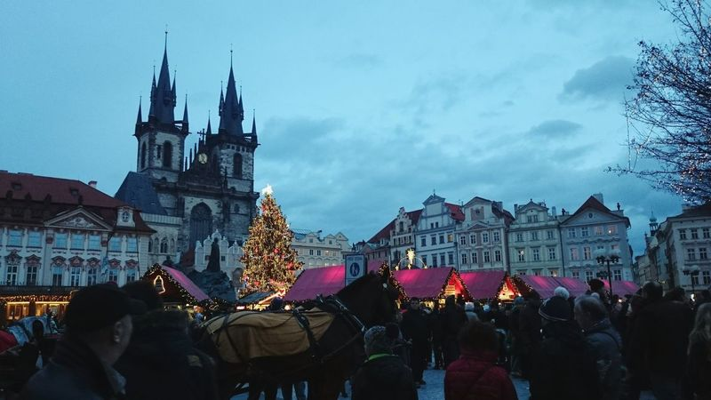 Christmas marketplace in Prague, Czech Republic. Building Exterior Architecture Night Travel Destinations Large Group Of People Christmas City Market Marketplace Prague Prague Czech Republic Lights Evening