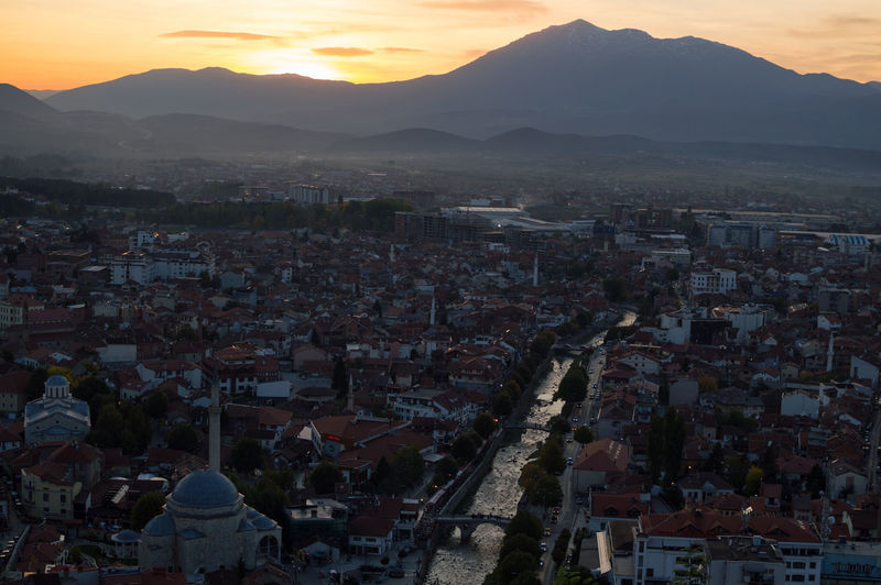 Sunset View from Prizren Fortress, Kosovo Balkan Eastern Europe Kosovo Architecture Beauty In Nature Building Exterior Built Structure City Cityscape Crowded Day Dome Fortress High Angle View Mountain Mountain Range Nature Outdoors People Prizren Sky Sunset Town Travel Destinations
