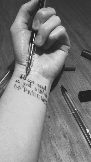 Just a little patience... Faketattoo  Ink Patience Guns N' Roses Pen Blackandwhite Hand Music Rock