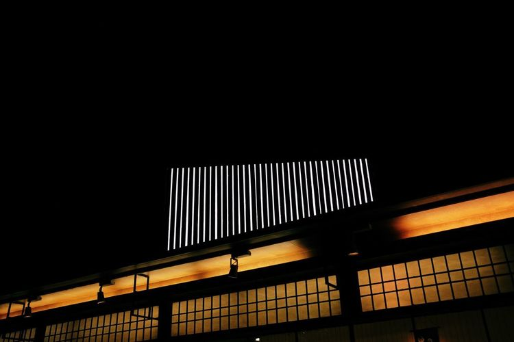 Architecture Building Building Exterior Built Structure Ceiling City Clear Sky Copy Space Dark Illuminated Lighting Equipment Low Angle View Nature Night No People Outdoors Pattern Railing Sky Transportation
