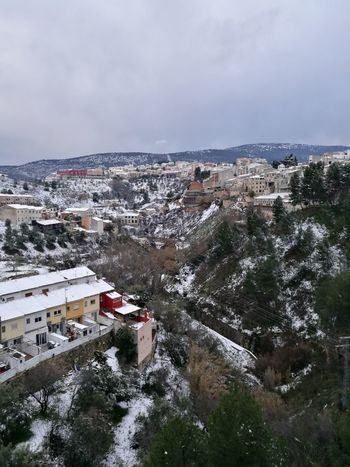 Cityscape City Aerial View Residential Building House Roof Extreme Weather Urban Skyline Frozen Alcoy Coldday Cold Temperature Winter Snow High Angle View Architecture Crowded Environment Social Issues Travel Destinations Outdoors Building Exterior Illuminated Day Sky