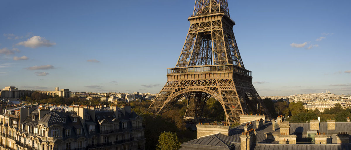 Elevated view of the Eiffel Tower, Paris, France. Eiffel Tower France Panoramic View Paris Travel Architecture Building Exterior Built Structure City Cityscape Destinations Elevated View History No People Outdoors Tourism Tower Travel Travel Destinations Travel Destinations Outdoors Relaxation Urban Skyline