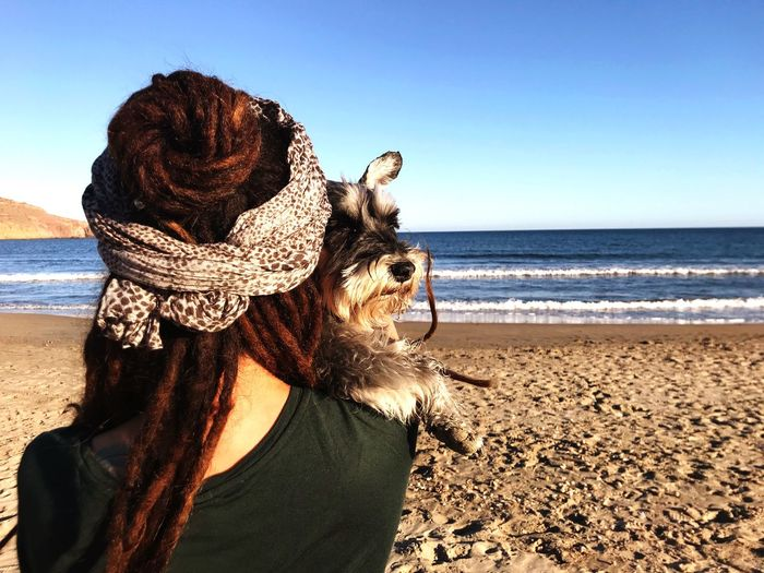 Best friends forever 💟 My Best Photo Petlover Dreads Dog Snauzer Dreadlocks Sea Land Beach Sky Water Horizon Over Water Horizon Nature Tranquility Lifestyles Scenics - Nature Outdoors Real People