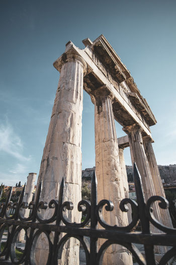 Athens Athens Greece Athens, Greece Sky History The Past Architecture Low Angle View Ancient Old Ruin Built Structure Architectural Column Damaged Nature Day Travel Destinations No People Ancient Civilization Tourism Old Boundary Obsolete Fence Ruined Archaeology Outdoors Deterioration