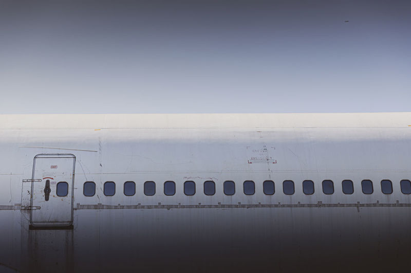 Image of the wreckage of a passenger plane that is no longer in use.