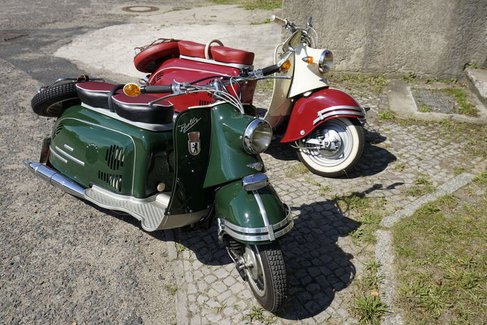 DDR GDR Bike Day High Angle View Land Vehicle Mode Of Transport Motorcycle No People Oldtimer Outdoors Red Green Refurbishment Restored Scooter Stationary Tire Transportation Vintage
