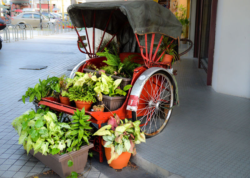 Georgetown Penang UNESCO World Heritage Site Penang, Malaysia No People Day Streets Of Penang Rickshaw Full Of Plants Machine Meets Nature Minimalism Paradox Machine And Nature Red Rickshaw Plant Holder Clever Garden Idea Plant Holder Idea DIY