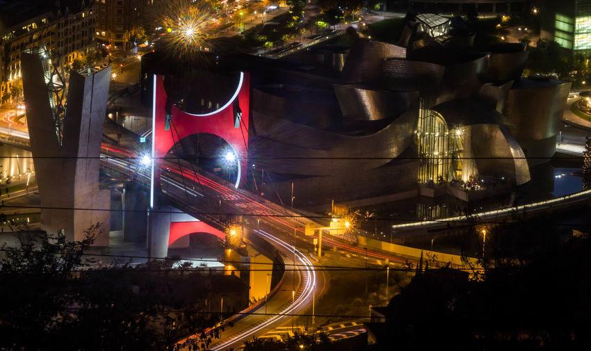 Night Illuminated Politics And Government City Architecture No People Outdoors Cityscape Guggenheim Bilbao Puente De La Salve