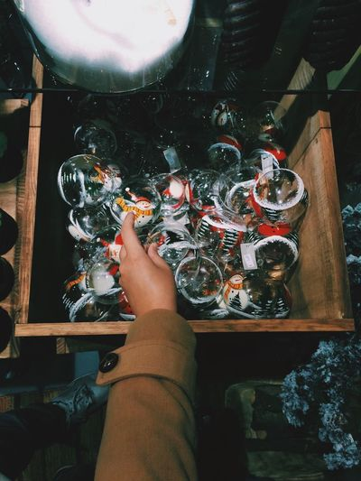 Drawer of christmas baubles