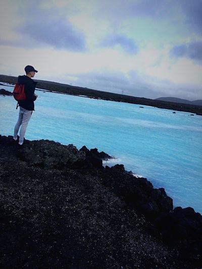 Blue Lagoon Water Hot Blue Fresh Cloud - Sky Beauty In Nature Standing One Person Lifestyles Long Goodbye EyeEmNewHere EyeEmNewHere