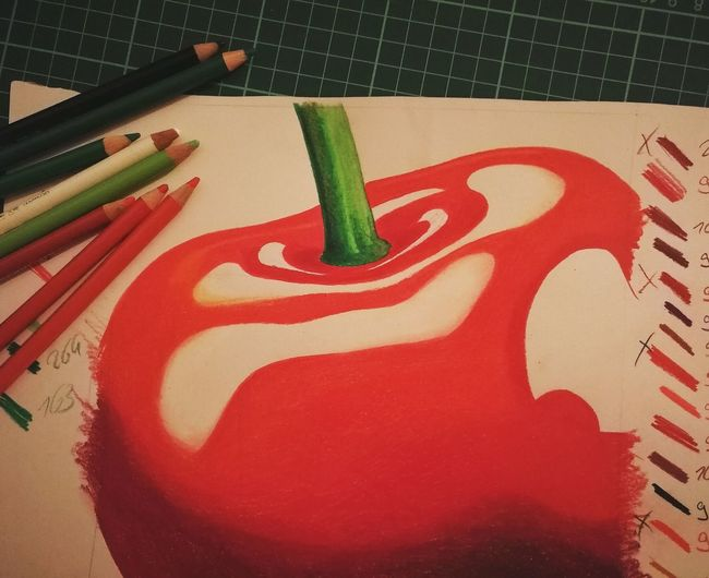 Red Colors Orange Color Cerry Green Color Drawing Red Close-up Number Colored Pencil Pencil