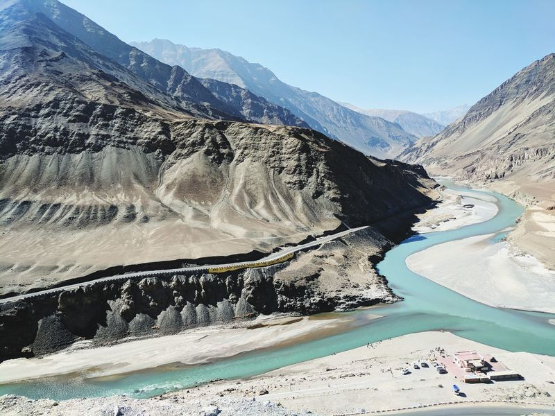 Perspectives On Nature Mountain Mountain Range Nature Water Outdoors Landscape Beauty In Nature Day Scenics No People Sky Confluence Of Two Rivers Indus River Ladakh Travel Destinations