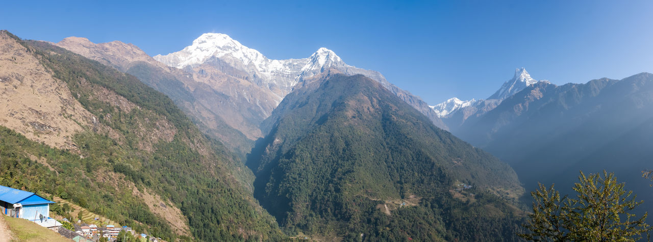 Panoramic shot of mountains against clear blue sky