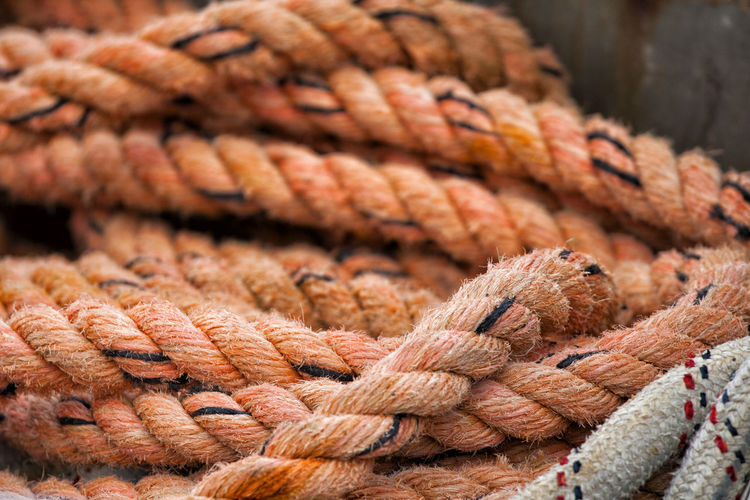 Close-up of ropes for marine safety