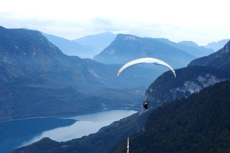 Paragliding above the mountains and tge mountaun lake. Molveno, Dolomites, Italy Active Lifestyle  Landscape_Collection Landscape_photography Nature Nature Photography Beautiful Nature Mountains Vacation Time Vacations Holidays Travel Destinations Molveno Freedom Relaxing Man And Nature Traveling Lake Lake View High Angle View Paraglider Panorama Scenics Paragliding Flying Mountain Extreme Sports Adventure Sky Mountain Range Landscape
