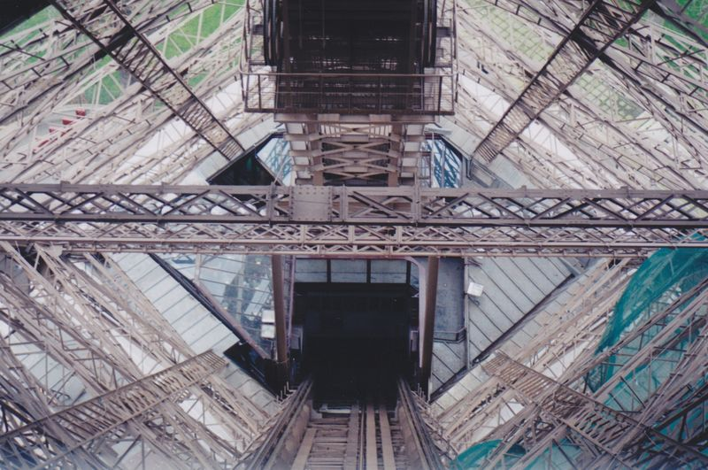 Pixelgirl Getty Images Paris, Eiffel Tower Elevator,going Down, Texture, Landscape, Metal, TRENDING  My Vacation ,don't Look Down