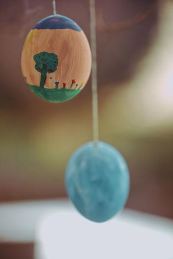 Close-up of crystal ball hanging