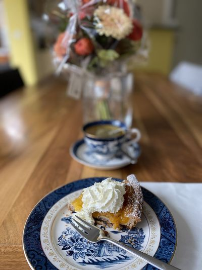 High angle view of ice cream in plate on table