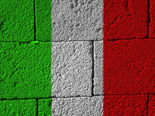 Italian flag Architecture Backgrounds Brick Wall Building Exterior Built Structure Close-up Day Full Frame Green Color Italy Italy Flag Multi Colored Nation No People Outdoors Red Rome Rome Italy State Textured  White Color