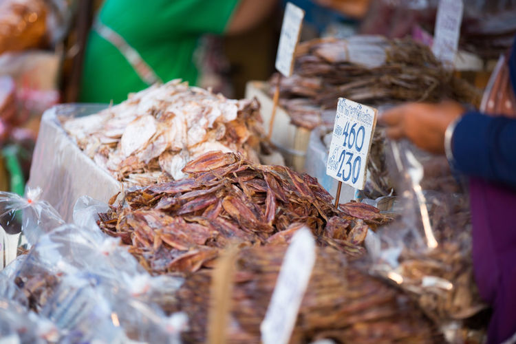 Dried food for sale at market