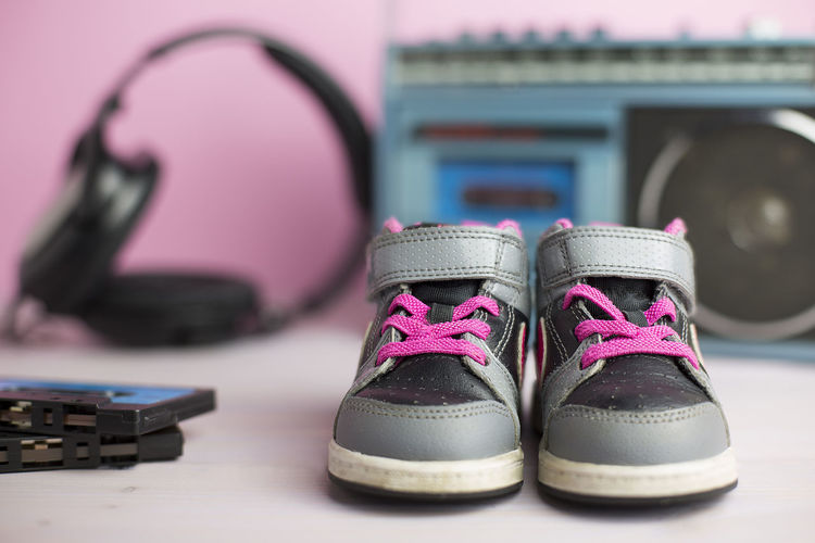 80's Baby Cassette Child Children Clothing Fashion Headphones Leather Music Radio Shoe Shoes Sneakers Stereo