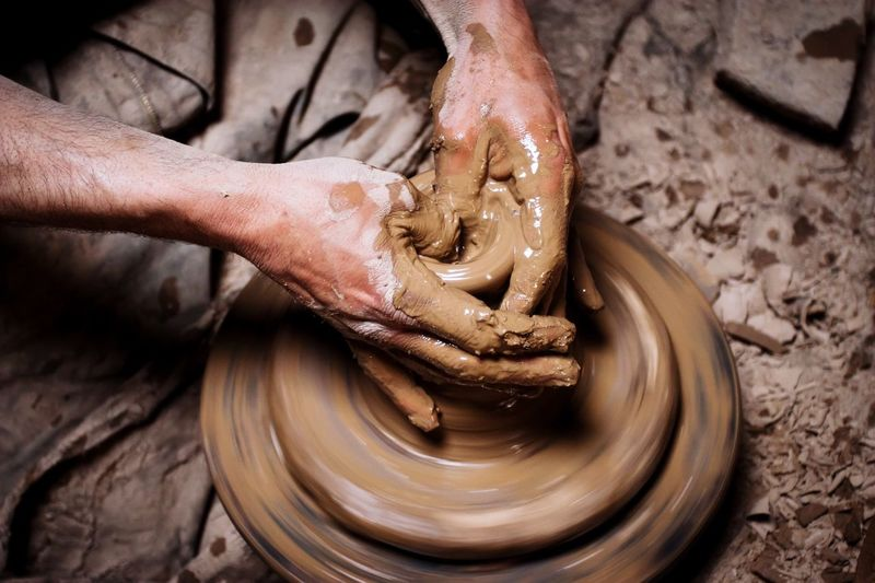 The potter's hands. Hands At Work Pottery Potter Hands