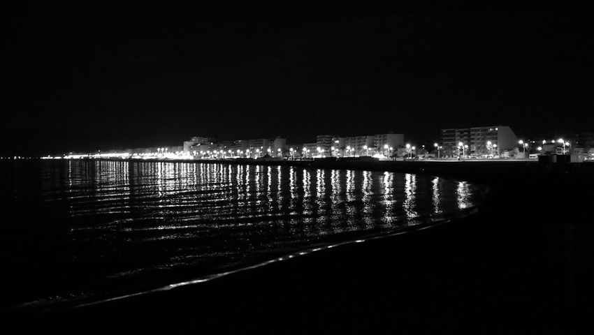 Beach Night Night Light Building Black And White Shadows & Lights HuaweiP9 Light And Shadow Sea Wave Mediterranean  Architecture Calm Waterfront #urbanana: The Urban Playground