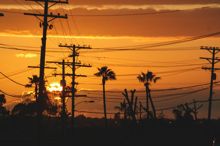 San Diego - Beauty In Nature Cable Clouds Clouds And Sky Connection Electricity  Electricity Pylon Nature No People Orange Color Outdoors Power Line  Power Supply Silhouette Sky Sunset Tree First Eyeem Photo