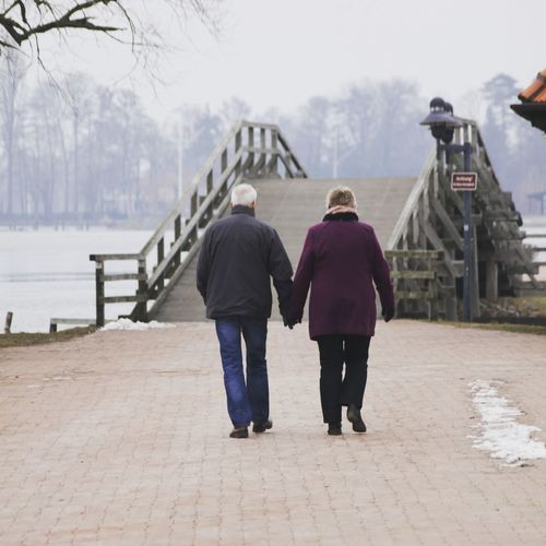 Hand in Hand Winter People Two People Cold Temperature Sky Day Adults Only Water Steinhude Outdoors