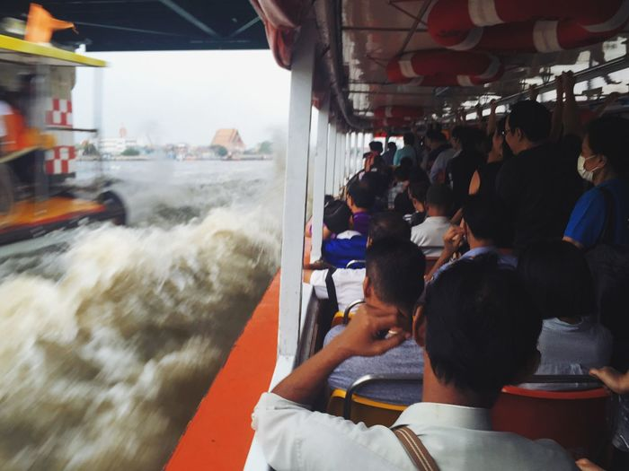 A second before a huge splash of Chaopraya River hit tens of unlucky passengers on Chaopraya express boat ⚓️ Bangkok Photography In Motion IPhoneography EyeEm Thailand Thailand_allshots Express Boat Chaopraya River Here Belongs To Me Urban Lifestyle Thailand Boat Transportation ShotOniPhone6 Spotted In Thailand My Commute Need For Speed Original Experiences Feel The Journey