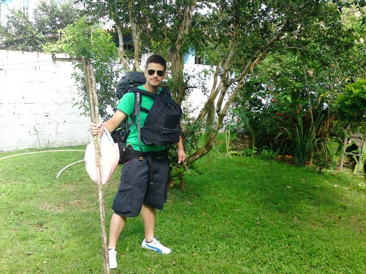 Brazil Travel Shoulder Bag Berimbau Adventure Tree Full Length Standing Portrait Looking At Camera Front View Tennis Grass Green Color Sky Tourism A New Beginning