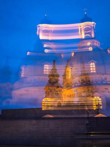 Blue Night in Dresden - blurred motion I Building Exterior Architecture Built Structure Building Sky Low Angle View No People Blue Blue Night Blue Sky Illuminated Travel Destinations Night Place Of Worship Frauenkirche Motion Blurred Motion