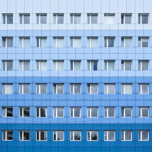 Architecture Built Structure Building Exterior No People Outdoors Full Frame Pattern Backgrounds Blue Repetition Window Day Modern Side By Side Design City Building In A Row Glass - Material Office Building Exterior Apartment