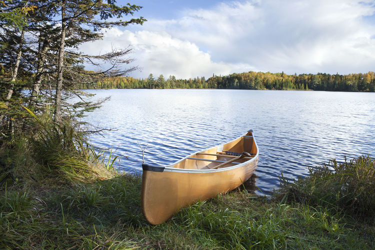 Canoe on the shore of a northern Minnesota lake during autumn Autumn Canoe Minnesota Recreation  Reflection Superior National Forest Trees USA Beauty In Nature Boat Cloud - Sky Color Image Lake No People North Outdoors Paddle Photography Pine Tree Scenics - Nature Shore Shoreline Sunlght Tranquil Scene Water
