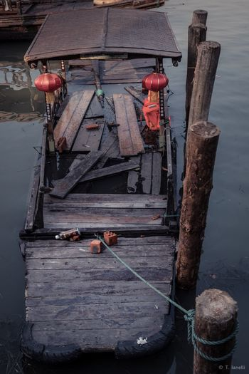 Broken Blue Gloomy Boat Old Sinkingboat Sunk Outdoors Day Wood - Material Nautical Vessel No People Transportation Wooden Post Water