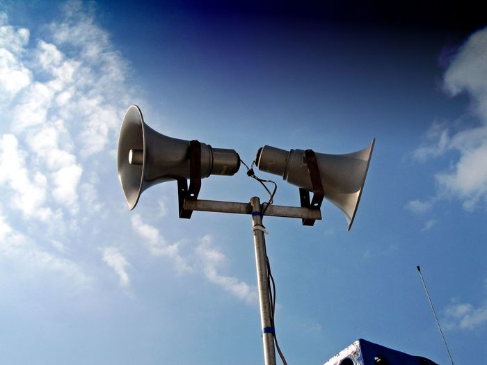 Low Angle View Of Two Megaphones