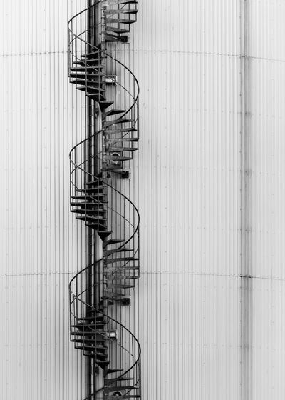 Metal fence on spiral staircase