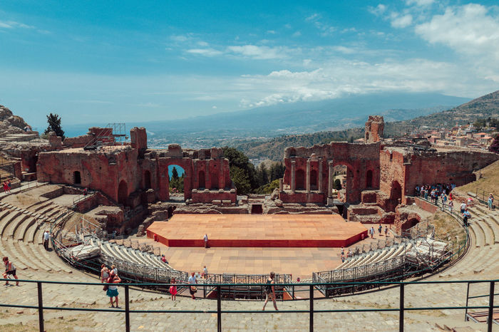 Stage World Heritage Ancient Ancient Civilization Architecture Day Empty Seats History No People Outdoors Roman Architecture Roman Empire Seats Sky Taormina The Past Theatre Theatre Arts Tourism Travel Destinations