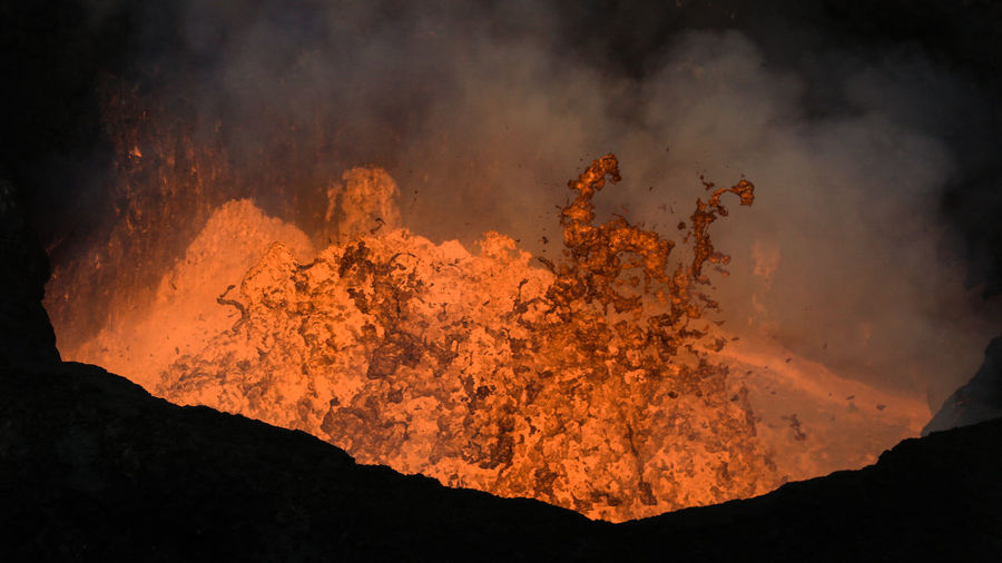 Active Volcano Beauty In Nature Burning Close-up Danger Erupting Exploding Flame Geology Glowing Heat - Temperature Lava Molten Mountain Nature Night No People Outdoors Physical Geography Power In Nature Science Sky Smoke - Physical Structure Volcano