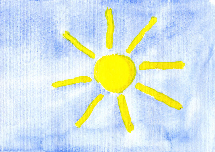 sun Aquarell Copy Space Himmel Kinderbild Painted Sunshine Day Watercolour Blue Blue Background Childrens Children´s Art Children´s Drawing Copyspace Creativity Freshness Full Length Kinderzeichnung Nature No People Painted Image Sonne Sun Watercolor Watercolor Painting Yellow