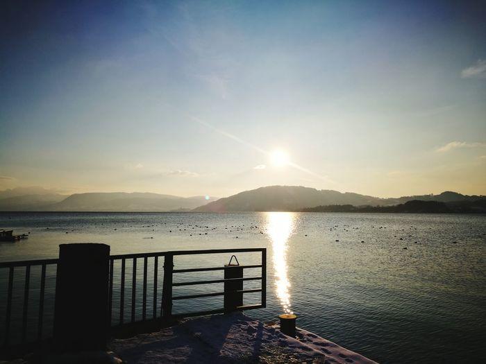 love@dampfersteg Leica Huawei P9 Water Mountain Sunset Sunlight Sky Horizon Over Water Calm Idyllic