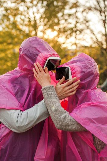 Couple wearing virtual reality simulator
