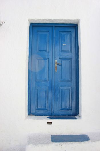 Blue door in