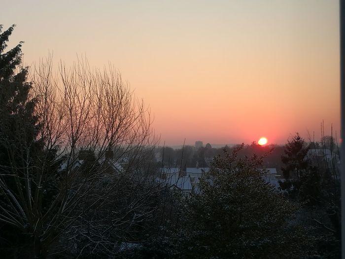 snowy sunrise Beautiful Sky❤ Tree Sunset Cold Temperature Silhouette Sun Sunlight Sky Close-up Snow Covered Shining