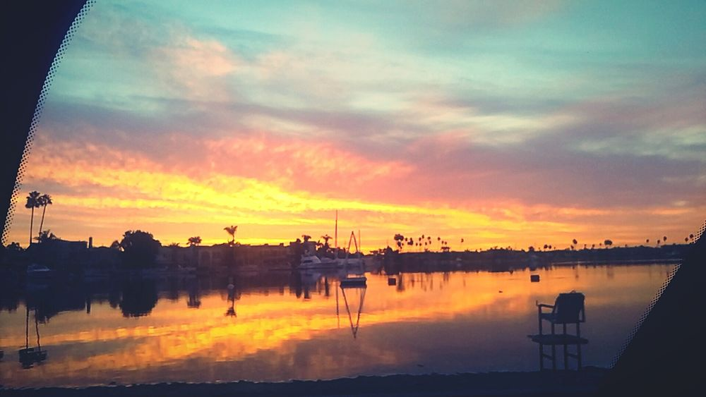 Through A Car Window Sunrise Long Beach Lifeguard Stand Sand Ocean Colorful Beautiful OurCity Love Thisisus In Motion Photography
