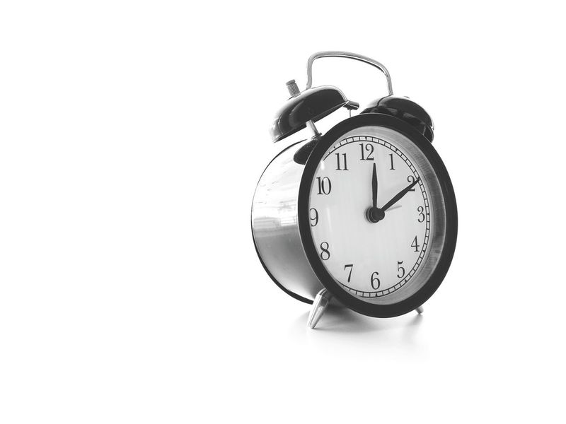 Time Clock Alarm Clock Minute Hand Old-fashioned Clock Face White Background No People Hour Hand Instrument Of Time Waking Up Close-up Day Midnight Afternoons Noon Time AlarmClock Blackandwhite Single Object Countdown Old-fashioned Number Times Alarm First