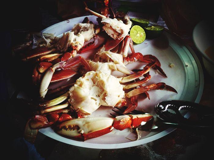 Disfrutando de unas Jaibas Seafood